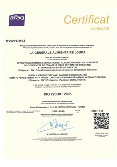 Certification 22000 : 2005